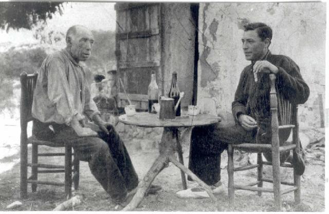 Hermós i Pla a Aigua-xellida, el 1925 (Fundació Josep Pla)
