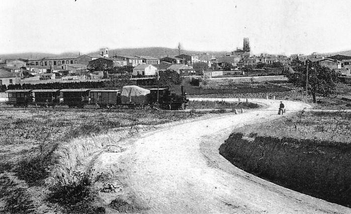 El tren petit, sortint de Palafrugell cap al 1910 - AMP